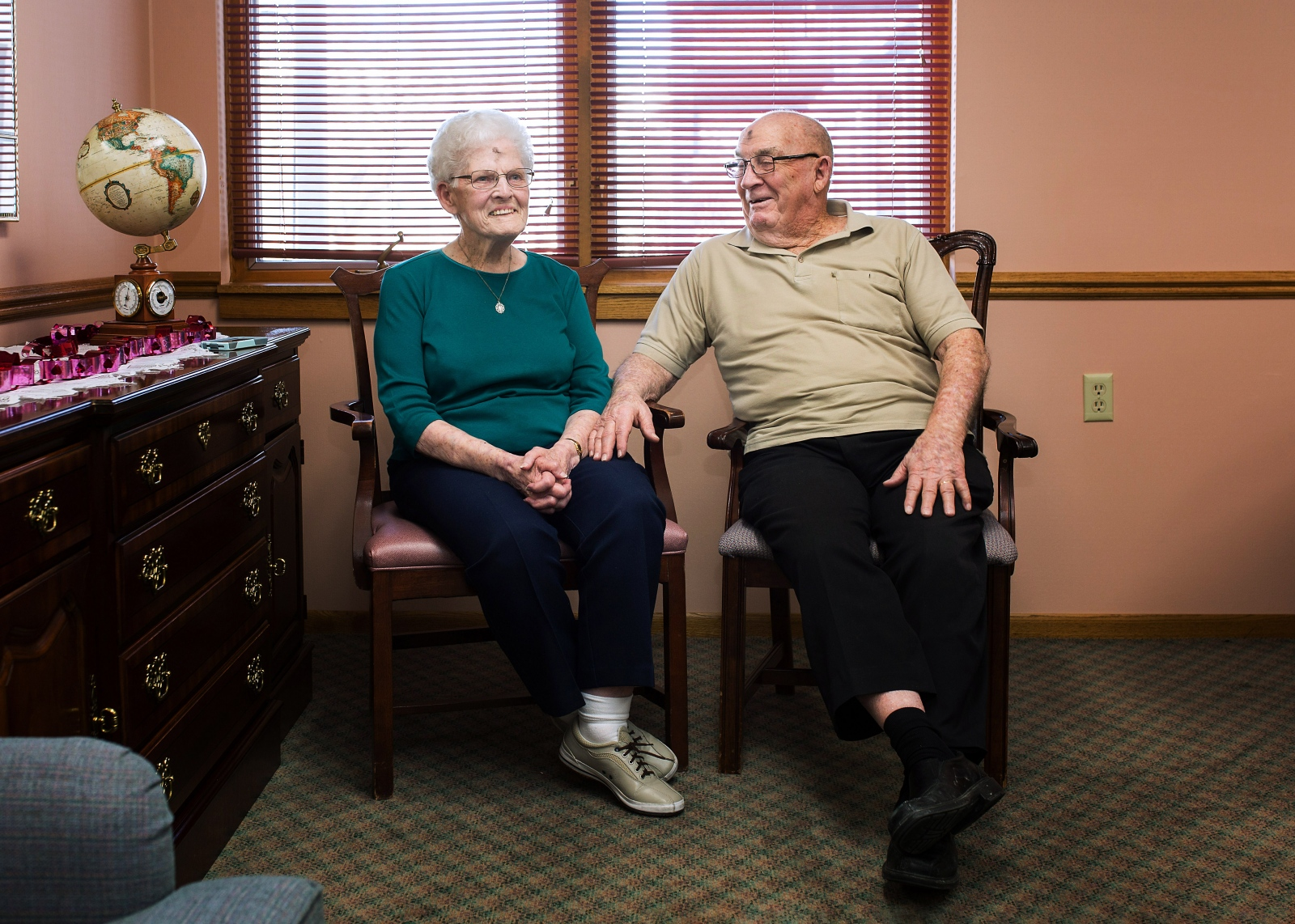 "Pat Templemeyer, 89, and Don Templemeyer, 91, married 69 years Pat: ""He's always been there for me."" Don: ""I love dancing with her — polka."" Pat: ""I used to be kind of into things, like tree climbing."" Don: ""We've been to all 50 states and about 26 other countries. Now we're making trips to Wal-Mart."""