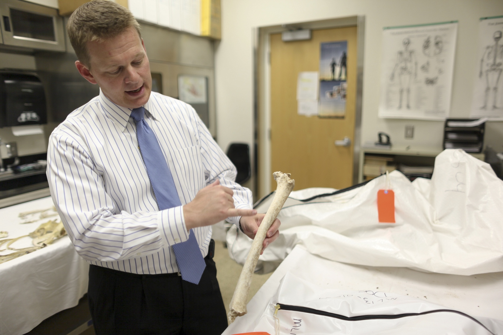 Dr. Gregory Hess, chief medical examiner of Pima County Office of the Medical Examiner in Tucson, Ariz. holds skeletal remains of an unidentified border crosser on Tuesday, May 21, 2013.