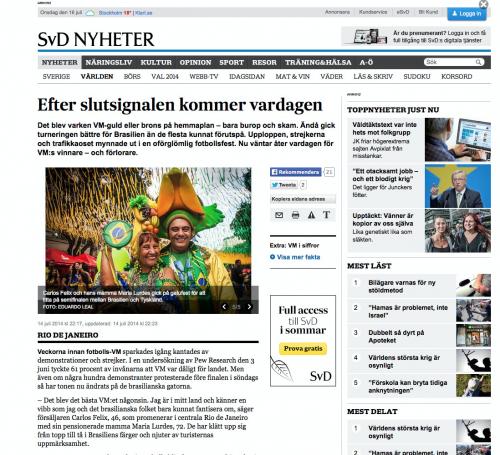 Svenska Dagbladet, July 2014