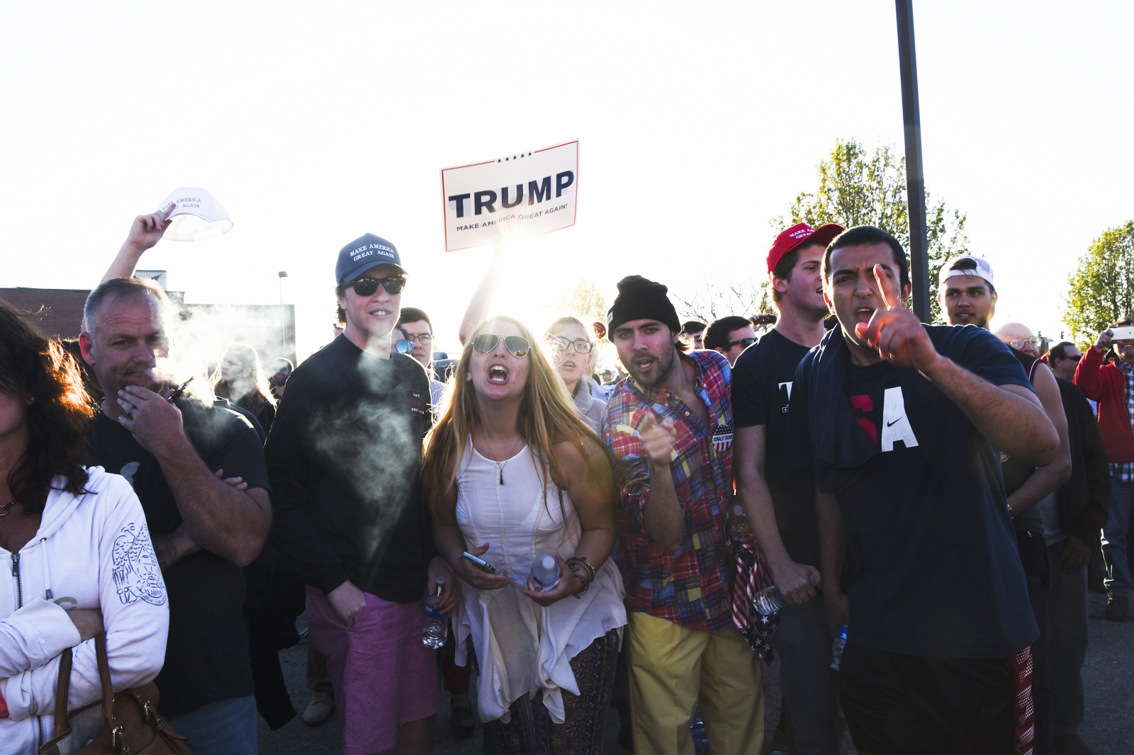Cambridge- Trump supporters at a rally on Maryland's Eastern Shore assemble prior to an appearance by Trump.