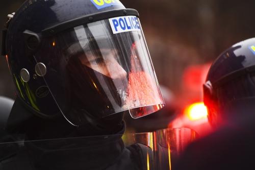 Washington- Riot police in D.C. following Trump's inauguration.