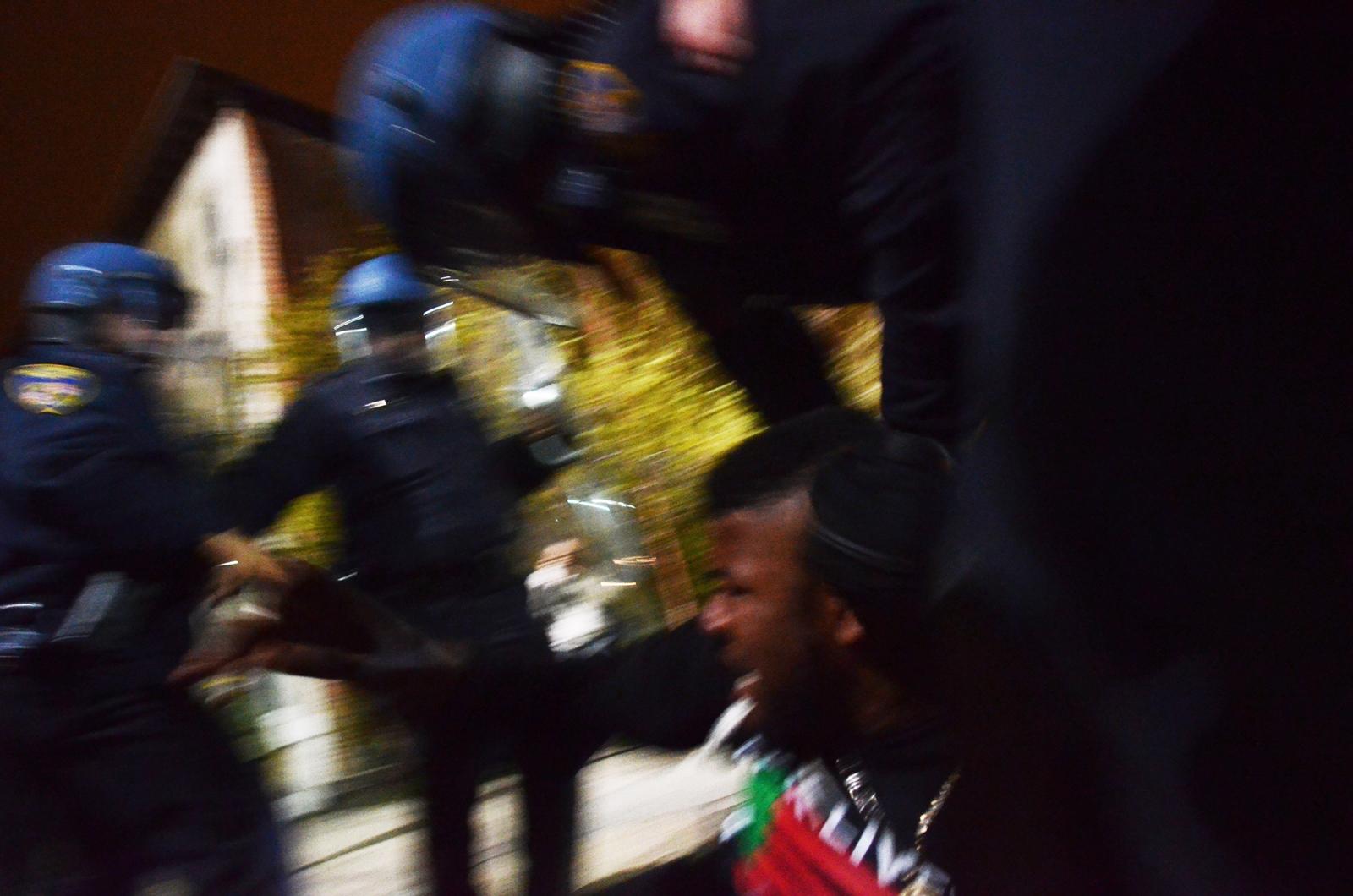 Baltimore- Baltimore police beat a man during the Baltimore Uprising