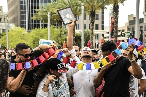 Orlando- Mourners at the Orlando Convention Center following the Pulse Nightclub shooting