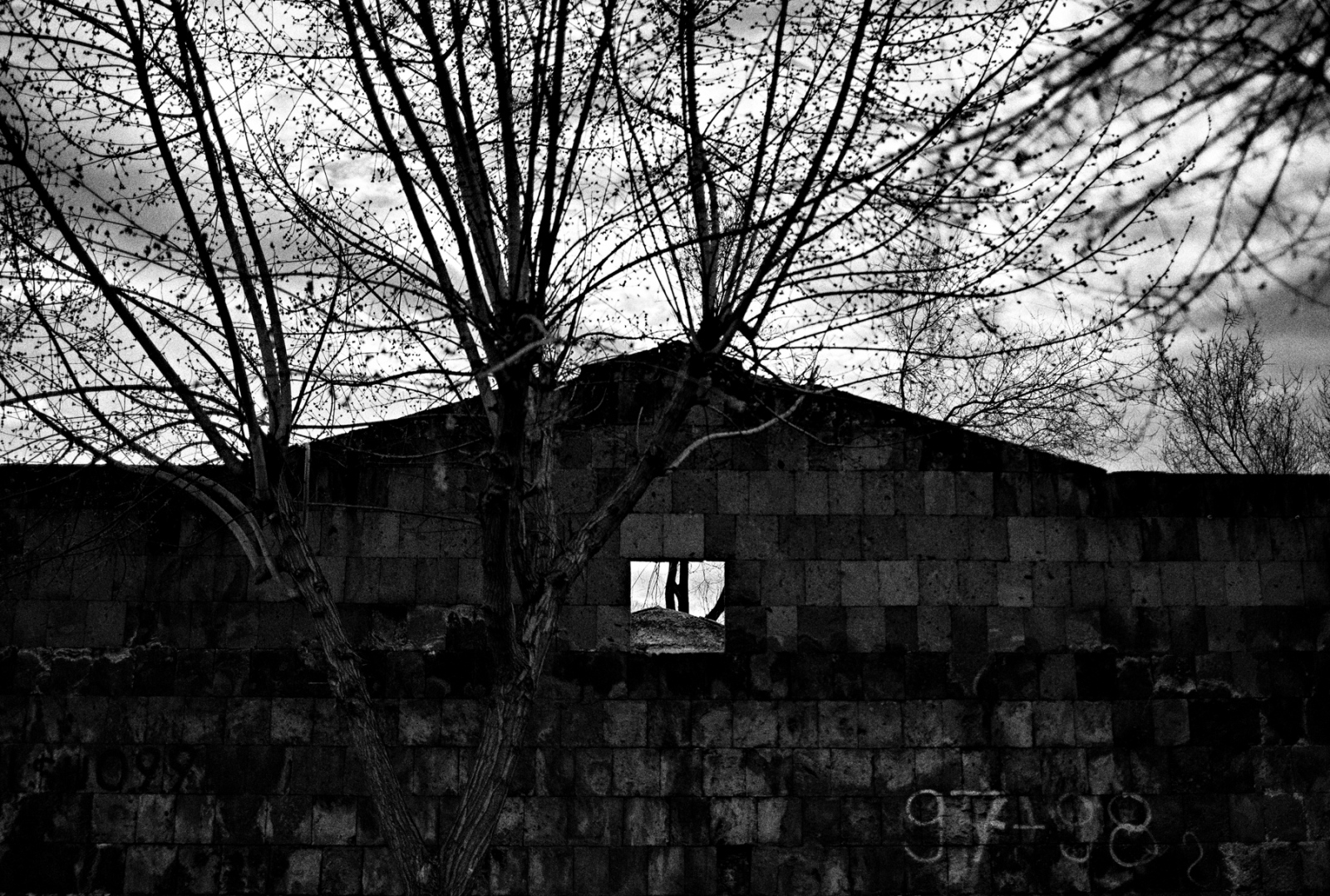 The ruins of a building near the Nor Nork Military Commissariat in the Nor Nork District of the Capital City Yerevan, Armenia.