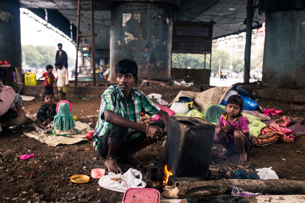 Landless migrants that have moved from a drought-stricken area in rural Maharashtra to India's megalopolis, Mumbai.