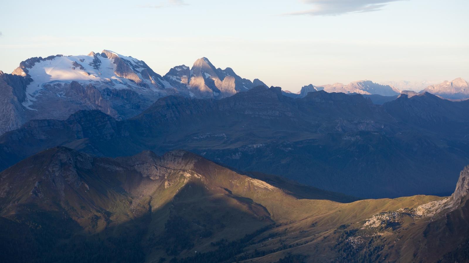 Marmolado Sunrise Sunrise higlights the higest peak in the Dolomites.