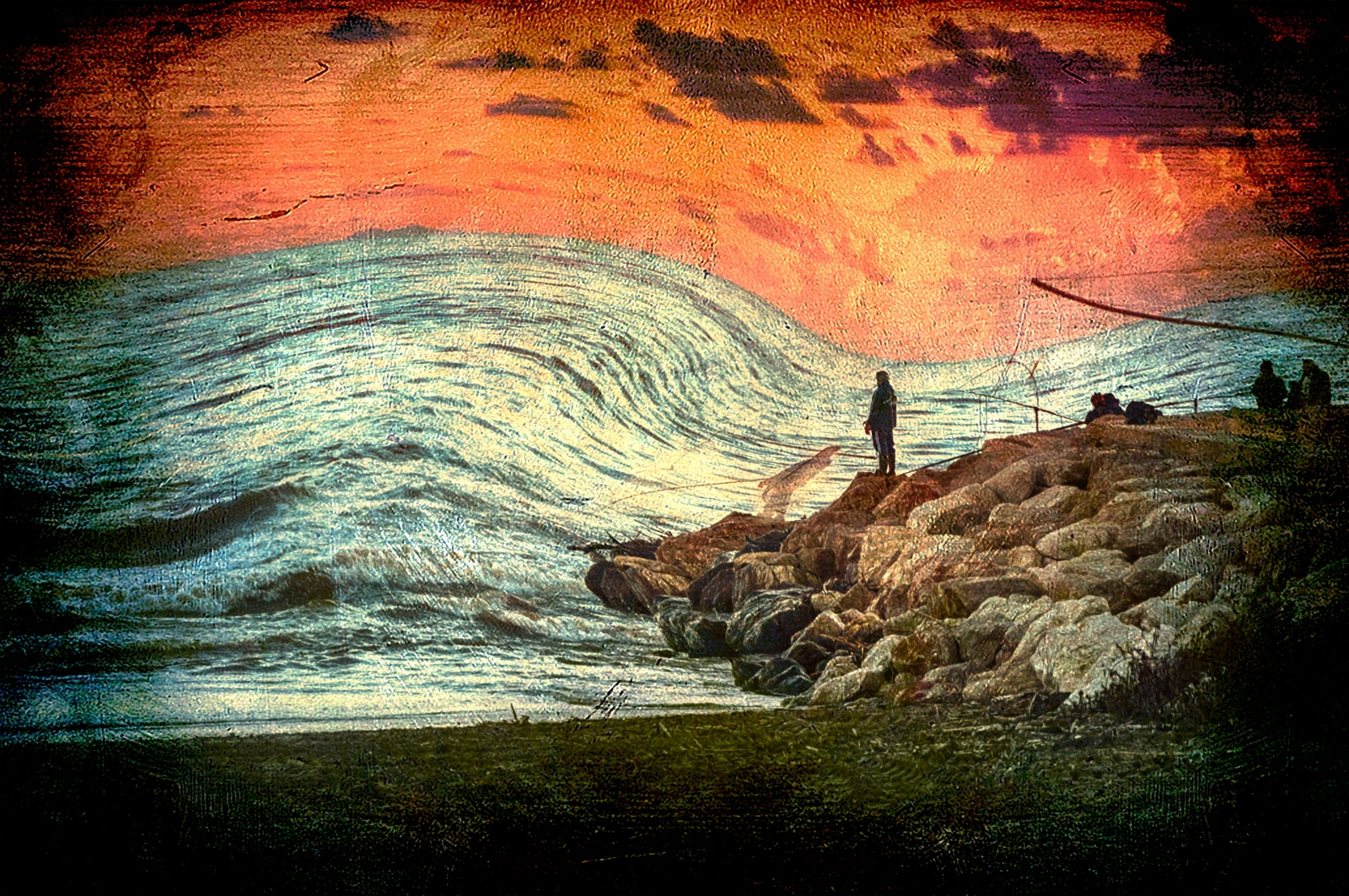 Fishing in a stormy sea