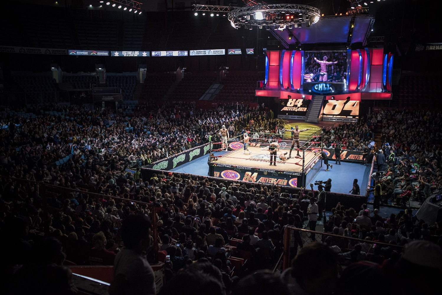 "Arena México is an indoor arena in Mexico City, primarily used for professional wrestling, or  lucha libre . Its shows are promoted by Consejo Mundial de Lucha Libre (CMLL). The building is called the ""cathedral of lucha libre"". Arena México has a seating capacity of 16,500 when configured for professional wrestling or boxing events. Twice a week it's always jammed with people assisting to the wrestling show ."