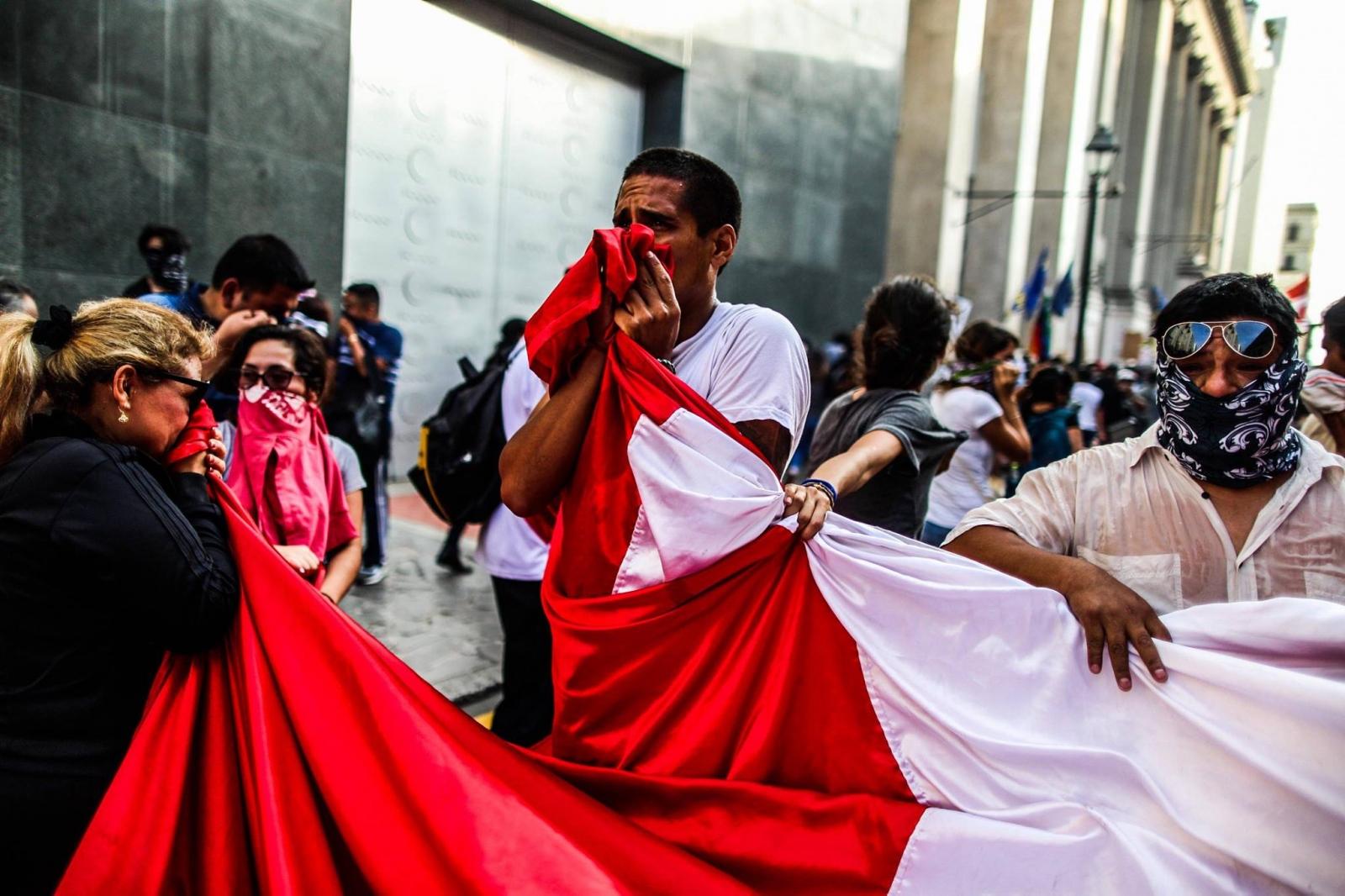 Protest against the pardon of Alberto Fujimori....