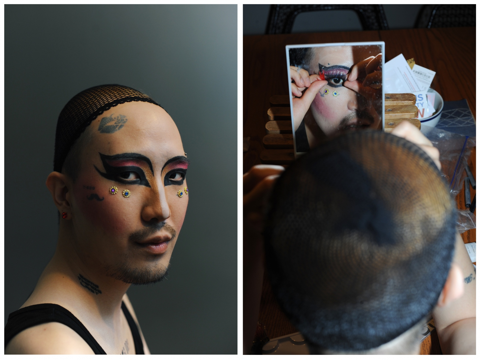 Performance artist Heezy Yang (b. 1990) dons makeup in order to transform into Hurricane Kimchi, his drag queen persona.The concept of drag is still foreign in Korea, and queens who perform do so in selectively known bars around Itaewon. He is one of the most prominent visual artists and performers in Seoul's queer community, founder of LGBTQIA+ Allies In Korea, and is planning the inaugural Seoul Drag Parade to come in Summer 2018. He was recently selected for Forbes 30 Under 30 in the Arts category.