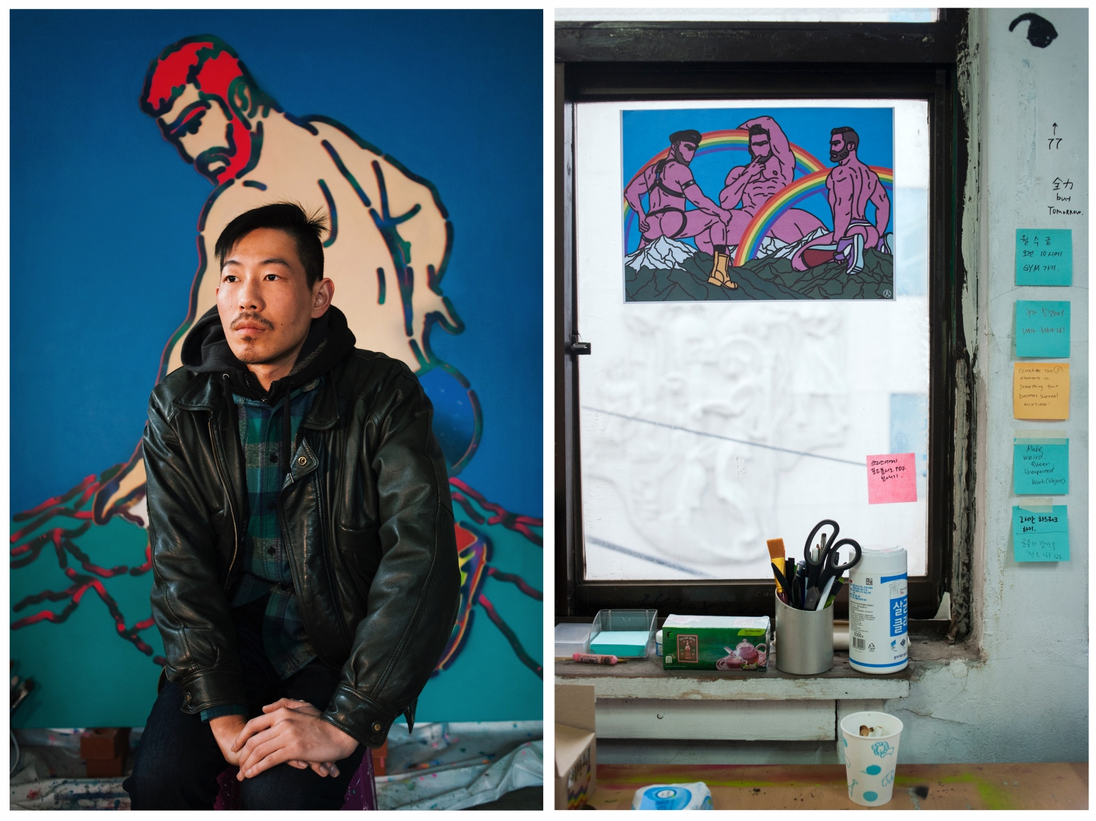(Left) Jeon poses in front of one of his paintings featuring Cyclopes, big one-eyed monsters from Greek mythology, who were seen as wild savages and live on an uninhibited island far from Mt. Olympus. Jeon received his bachelor's in animation from Zokei University, Tokyo. In Jeon's interpretation, cyclopes resemble the Korean LGBTQ community in their isolation and the preconception others have toward them. (Right) Jeon's desk in his studio, Jongro, Seoul.