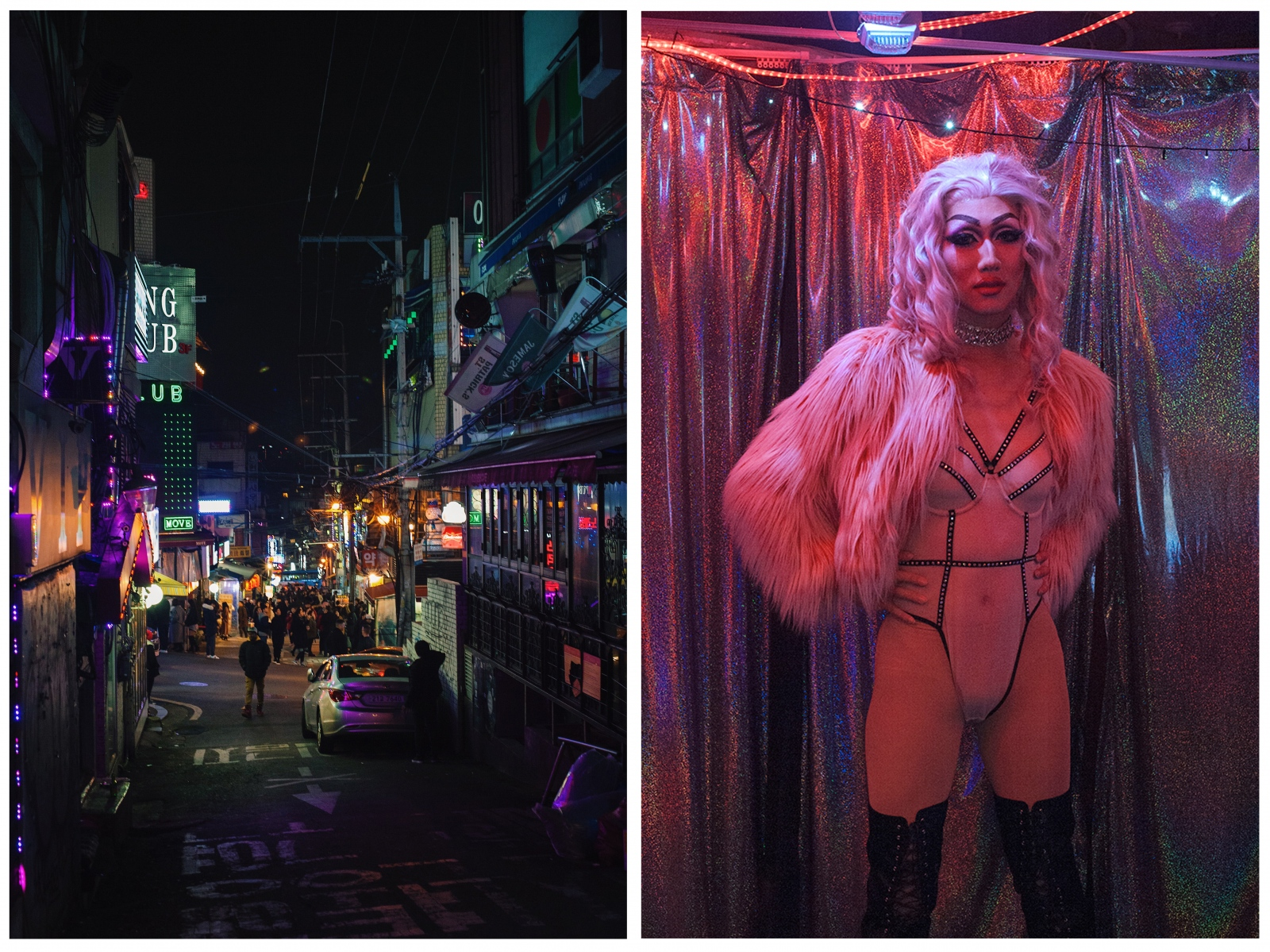 """""""My drag motivates me to continue my craft and help others who feel like they are different and don't belong."""" Performer Eric Shin (right, b. 1996) as his drag personality Erica Balenciaga at The Rabbit Hole in Itaewon, Seoul. Shin comes from a Korean Jehovah's Witness household and is a student on leave from NYU Shanghai. While at NYU, Shin started doing drag as a way of artistic expression and escaping from struggles. Eventually, his parents and elders of the congregation discovered his activities, disfellowshipped him, causing his family members to disassociate as well. Shin's parents cut off all financial support and communication. Shin performs at drag venues in Itaewon. Homo Hill, Itaewon, is pictured on the left."""