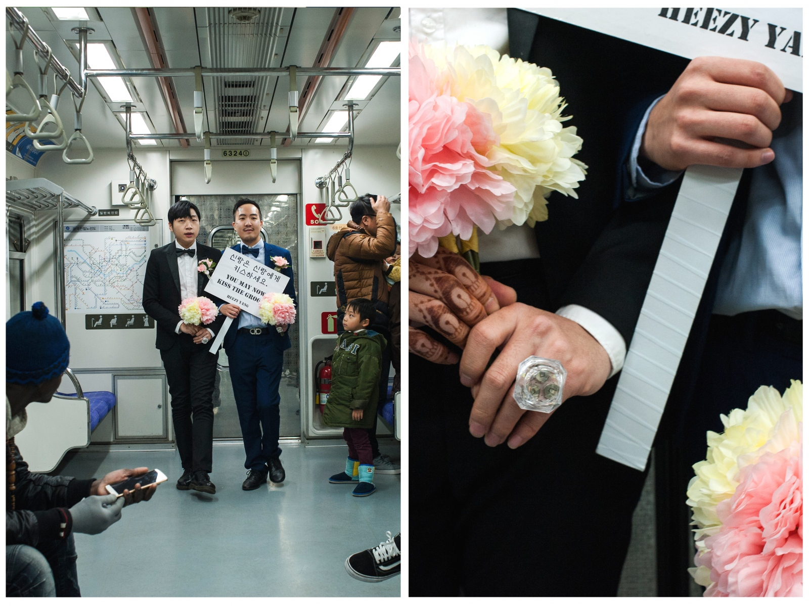"""In Seoul's subway, Yang (right) performs """"May the Groom Kiss the Groom,"""" a mock gay wedding, with fellow artist friend Seunghwa Baek to raise awareness about the lack of same-sex marriage rights in South Korea. """"As it usually is in Korea, the experience has been a lot people looking at their phones, pretending they don't see me, minding their own business. But it's a step by step process."""""""