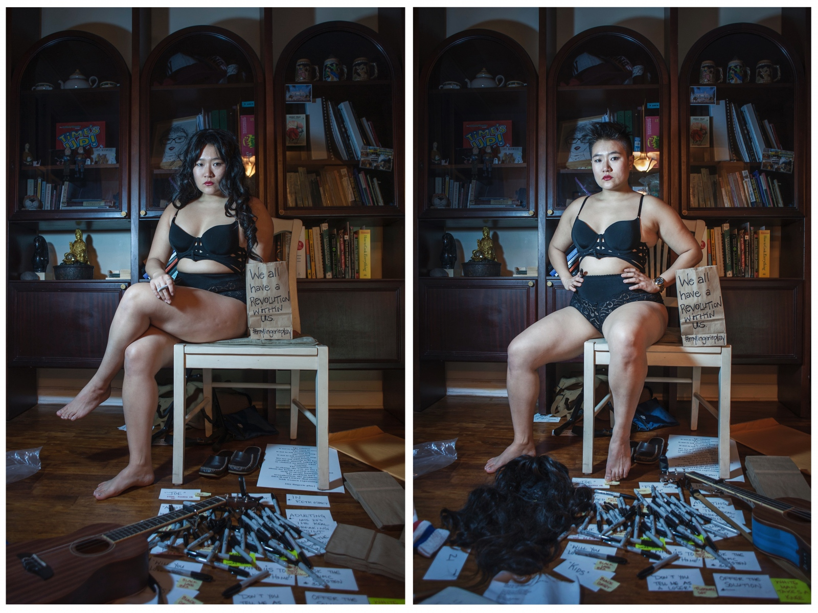 """Queer artist, performer, and theatre director Diana Oh in her apartment in Elmhurst, NY. Oh is a Korean American artist known for """"My Lingerie Play,"""" a performance art piece that began in 2014 which involves standing in public spaces atop soapboxes in her own lingerie holding brown paper bags with words that have been directed at her body. Her work is about accepting, rather than demonizing, female sexuality. """"I'm thinking about the overperformance of gender. I'm thinking about personal revolution."""" Oh is pictured with and without her wig, which she believes changes public perception of her sexuality. She is surrounded by paper bags and messages used for her performance, structured around events from her life."""