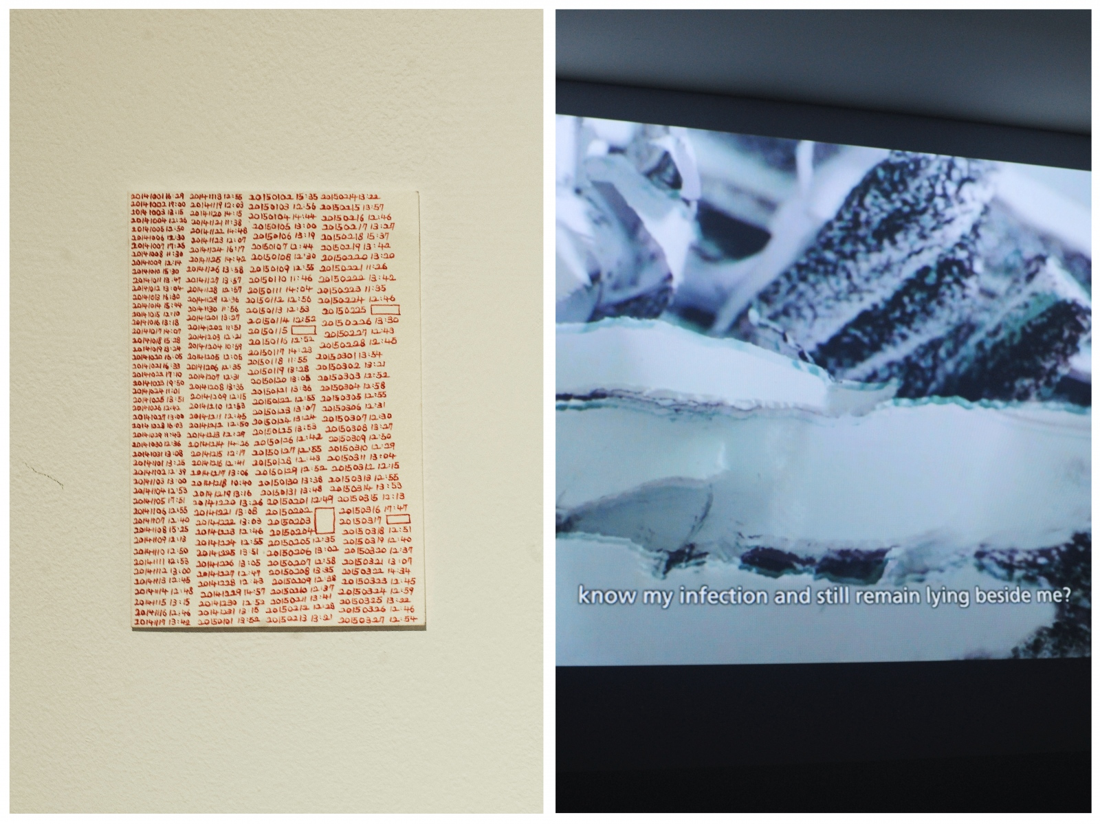 (Left) His canvas-based work often utilizes or references HIV medication. While taking Stribild, an antiviral drug, Lee began writing down the date and time he took medicine each day to make sure he took them. The times that he does not remember taking medication became empty rectangles he drew, which invoke, for the artist, complex emotions regarding his illness — acknowledgment of dependency on medication, fear of bodily change and death — an abstraction becoming palpable. Another series of work feature HIV medicine that has been melted onto the canvas by the artist. These canvases depict Lee's desire to make the shapes, and the emotional toll inflicted on HIV-positive individuals by society, melt away.