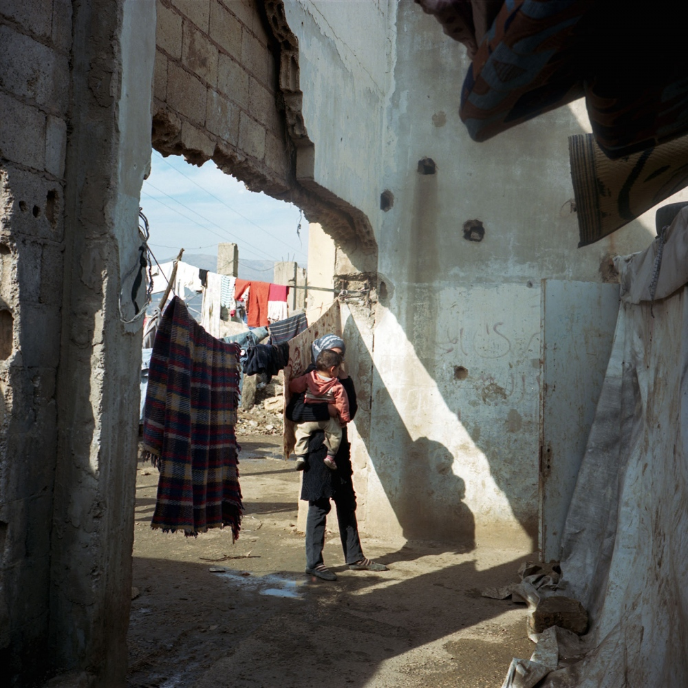 Informal Syrian refugee settlment in an abandoned onion factory in the Beqaa valley of Lebanon.