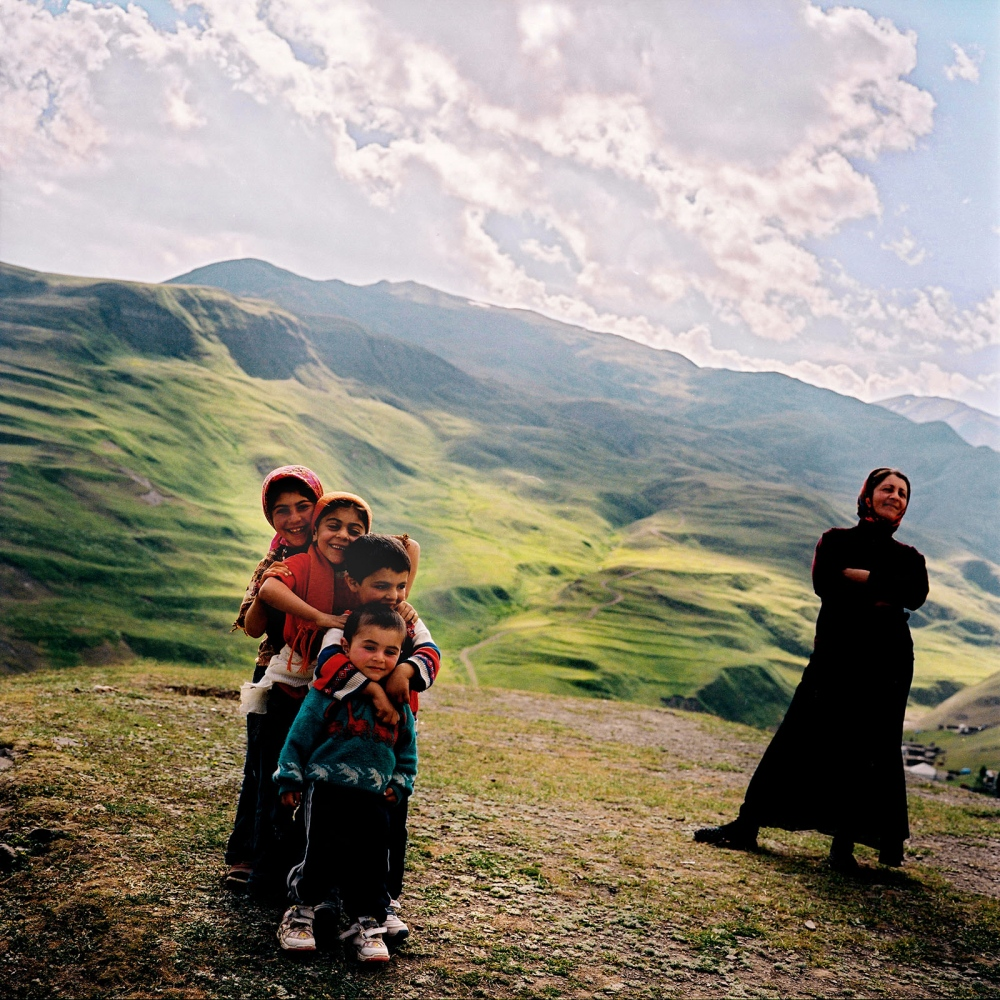 Family in the hills of Khinaliq. Azerbaijan. 2006