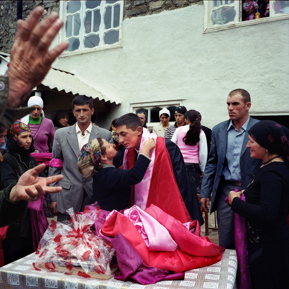 The groom participates in wedding festivities of the village. Khinaliq, Azerbaijan. 2009