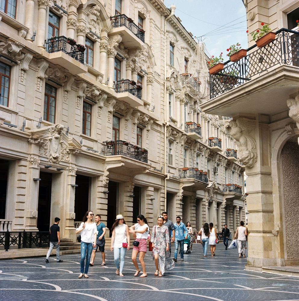 Palatial residences commissioned by the turn of the century prosperous Baku oil merchants and echoing European grandeur line a pedestrian avenue near Fountain Square.