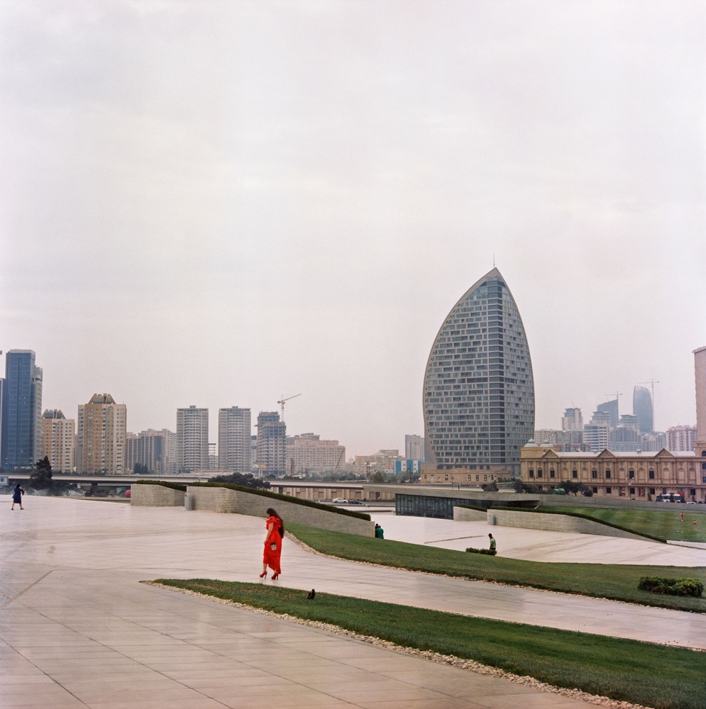 The controversial Trump Tower looms over the skyline in Baku.