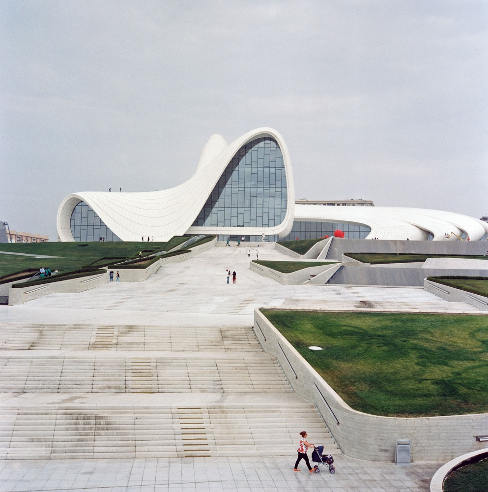 The curving Heydar Aliyev Center is named for Azerbaijan's third president–and has won awards for its starchitect, the late Zaha Hadid. An airy light-filled interior houses a museum of Heydar Aliyev, art exhibits, collections of dolls and vintage cars and a café.
