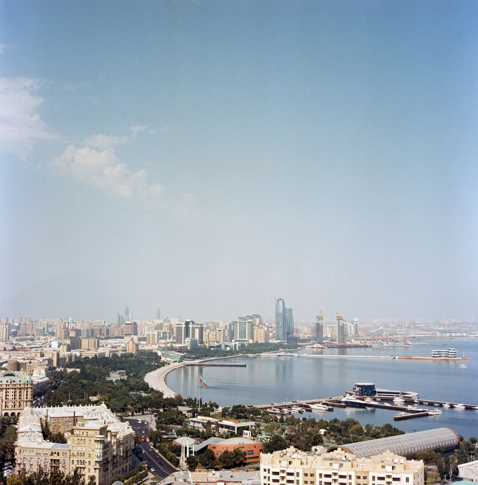 A view over the Caspian Bay of Baku.