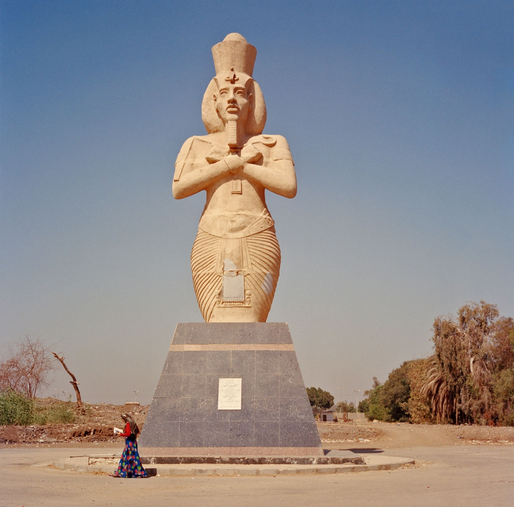 The ancient king continues to be the subject of monumental art, including this sculpture at Minya University.