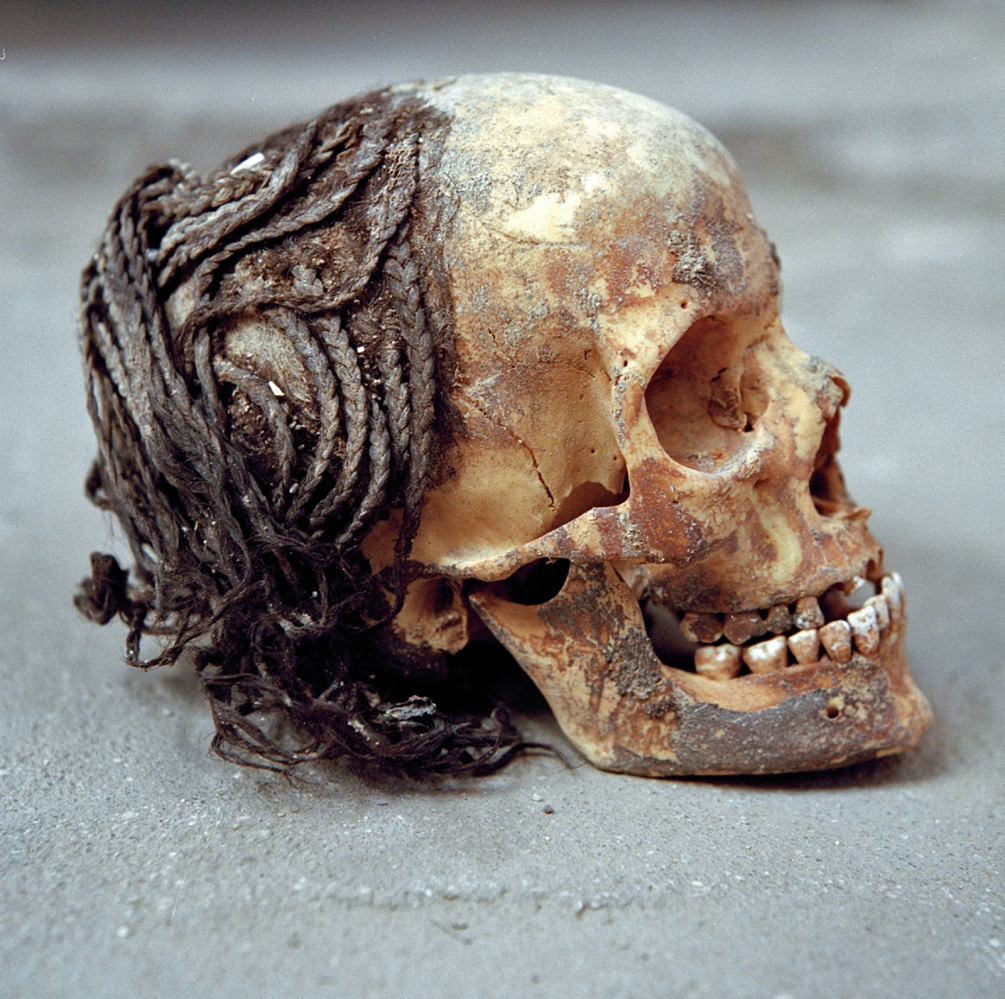 Commoners were buried on the desert floor, where few markers or grave goods have been found. Elaborate braids on a skull reflect the care that ancient Amarna residents took with their appearance, despite difficult living conditions.