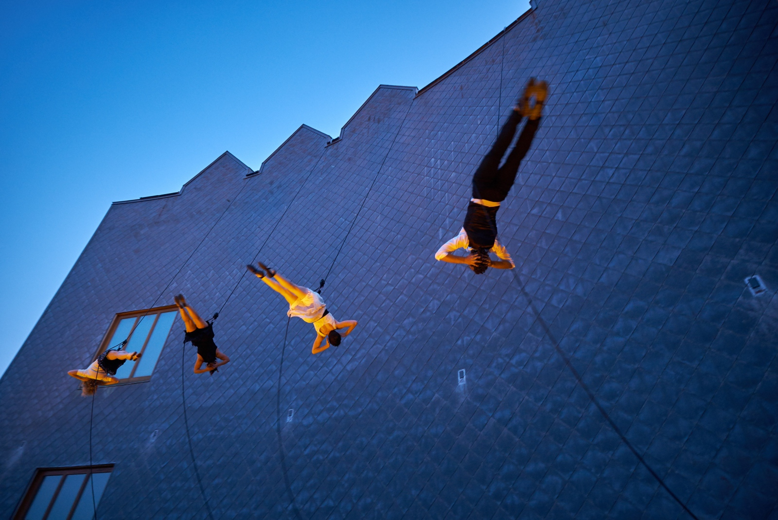 Photography image - Vertical dancing troupe Bandloop performing at Middlebury College, Vermont