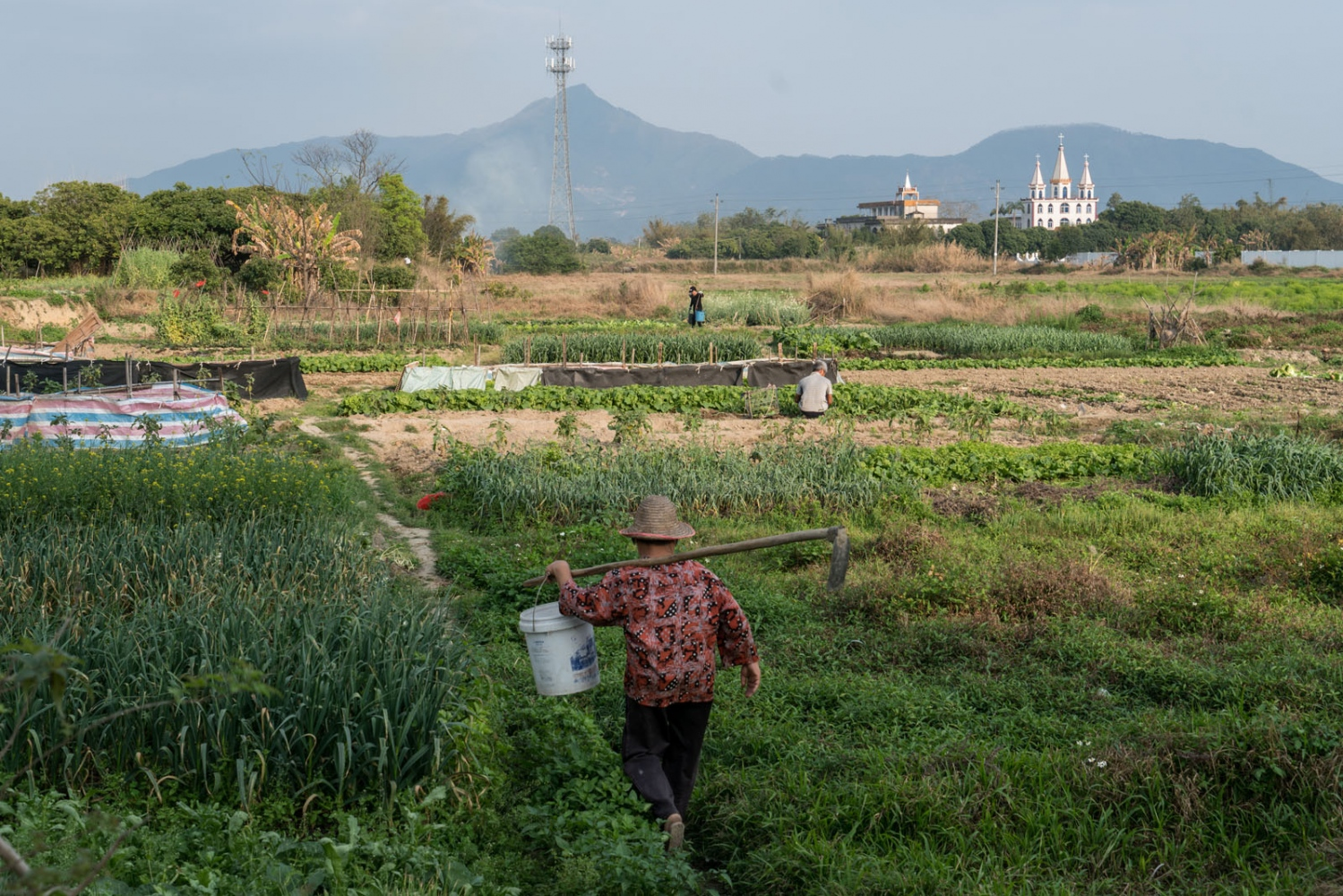 Villagers farm on their small piece of land in Guangdong province, China on March 3, 2018. Luotianba Catholic Church stands in the background.