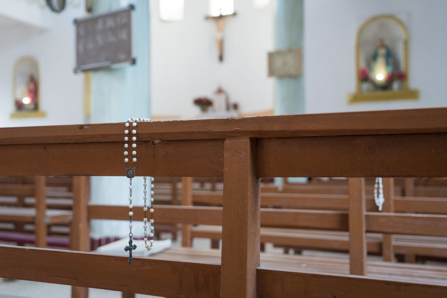 Rosary beads left on the bench in Luotianba Church, in Guangdong province, China, on March 4, 2018.