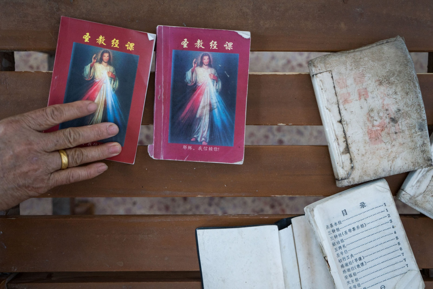 Prayer books left on the bench of Luotianba Church in Guangdong province, China on March 4, 2018.