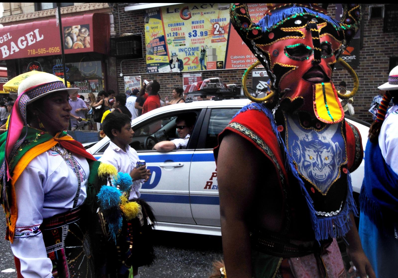Jackson Heights 's streets celebrating independence of Ecuador in spanish neigborhood Queens