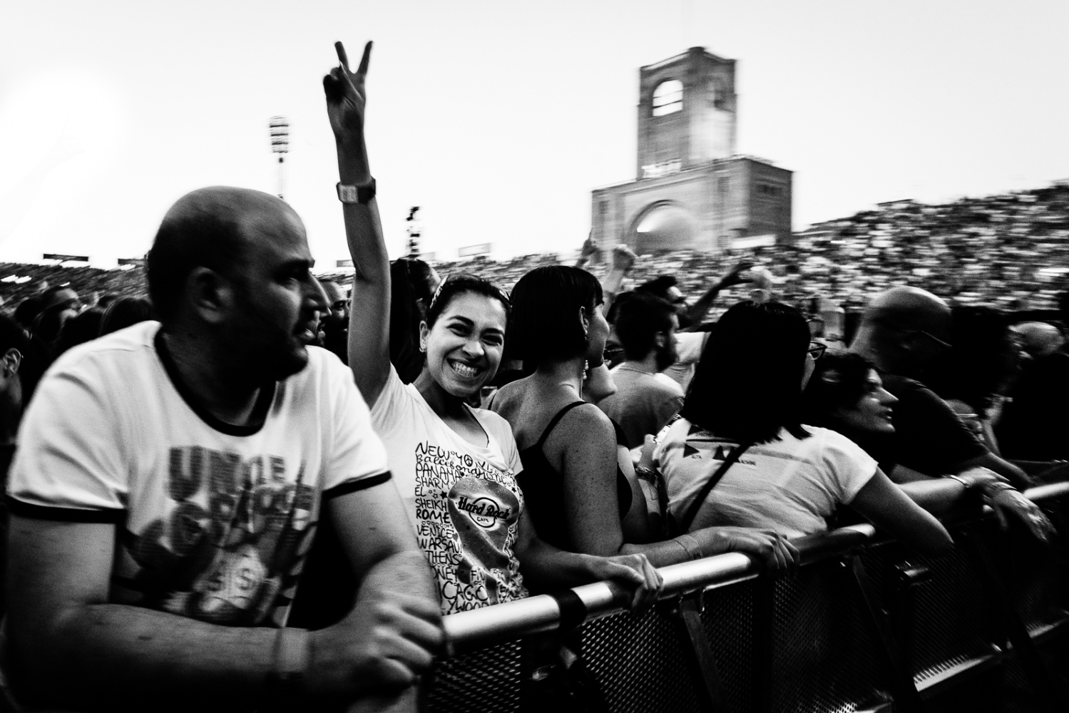 Audience at the Depeche Mode concert Aaudience during the Depeche Mode concert in Bologna