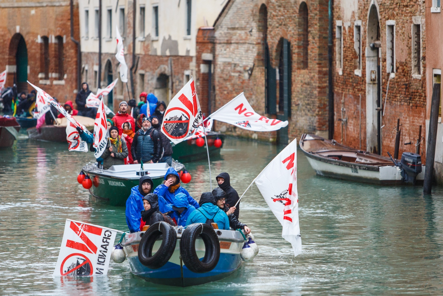 No Big Ships protest in Venice Protesters on small power boats protest against big ships in Venice's canals on March 8. The group hopes to bring attention to the environmental impact that large ships have on the city.