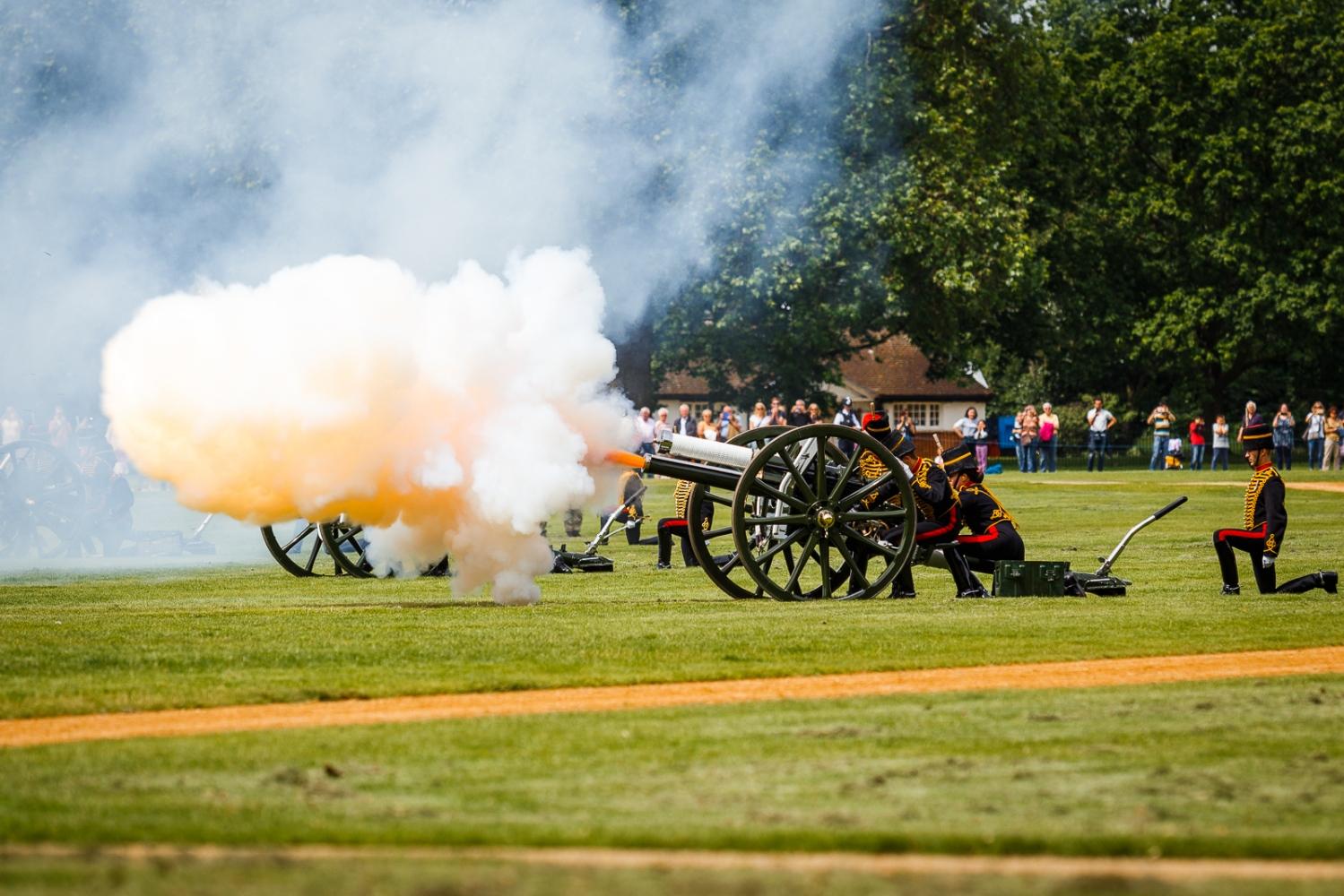 A 41 gun salute for the Duke of Edinburgh's Birthday in London A gun is reloaded during a 41 gun royal salute to mark the the Duke of Edinburgh's Birthday at Hyde Park