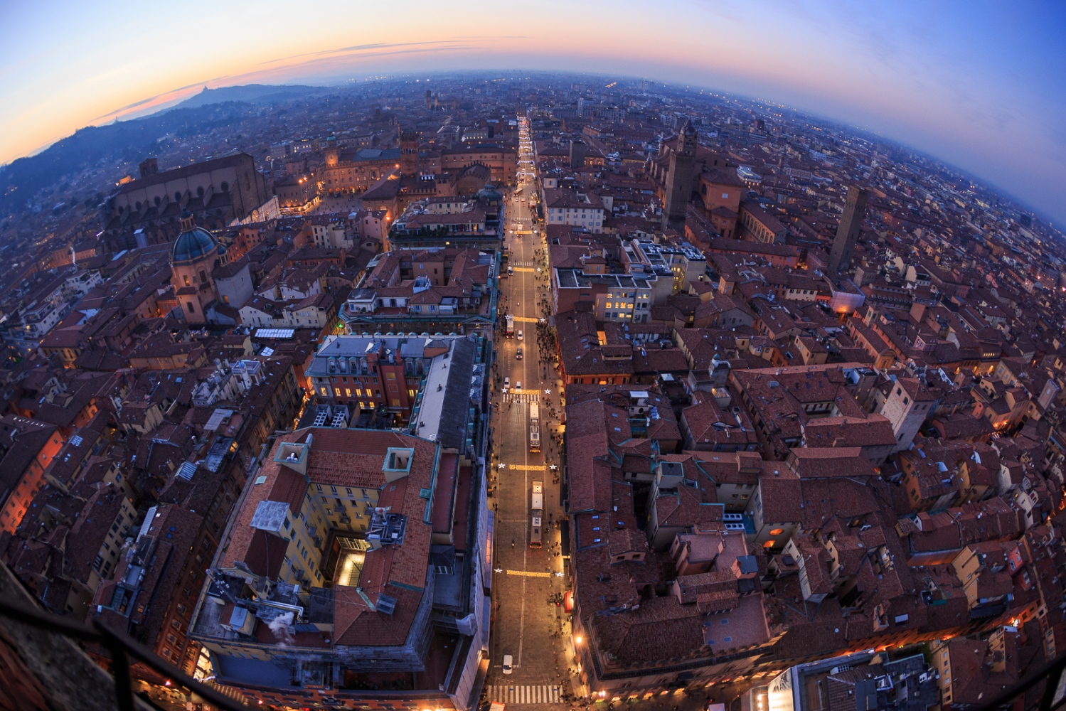 Christmas Atmosphere in Bologna A general view of Christmas lights on Rizzoli street as seen from the top of the Asinelli Tower.