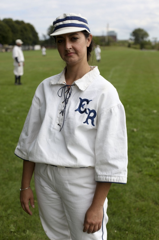 Detroit Early Risers teammate, Evette Griffore, 36, of Davison, poses before a baseball game during the Civil War Days on Sunday, September 14, 2014 at Historic Fort Wayne, Mich. Griffore is also the manager and couch for the Detroit River Belles, a women's historical baseball team.