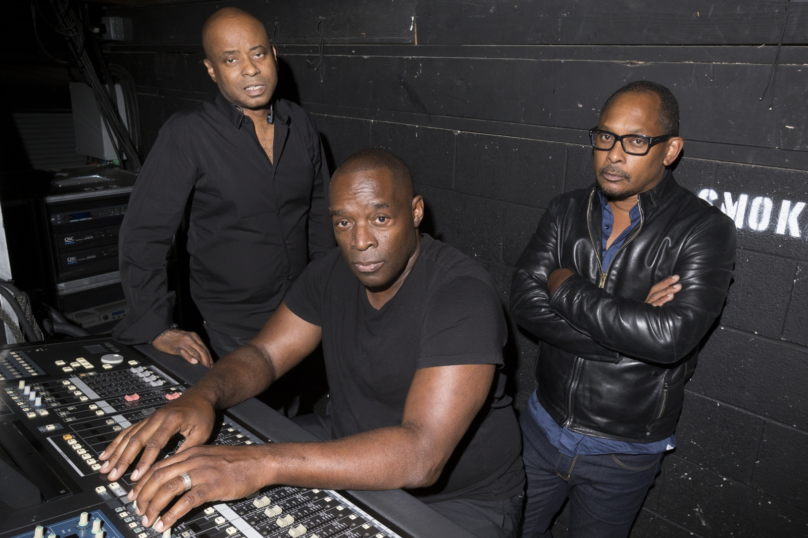 The legendary Detroit techno founders or The Belleville Three from left, Juan Atkins, Kevin Saunderson, and Derrick May pose at the Majestic Theater on Friday, May 26, 2017 in Detroit, Mich.