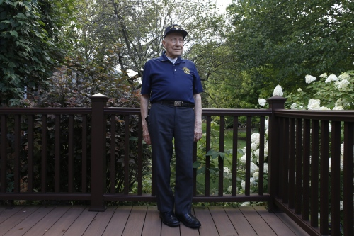 "Edward Hallo, 97, of New Hudson, poses for a portrait on Friday, August 18, 2017 in Northville, Mich. Hallo, a World War II veteran, was an Operation Sgt. of Company A, 501st Parachute infantry, and a paratrooper of the 101st Airborne Division, also known as the ""Screaming Eagles,"" will be a special guest at the Thunder Over Michigan Air Show over Labor Day Weekend."