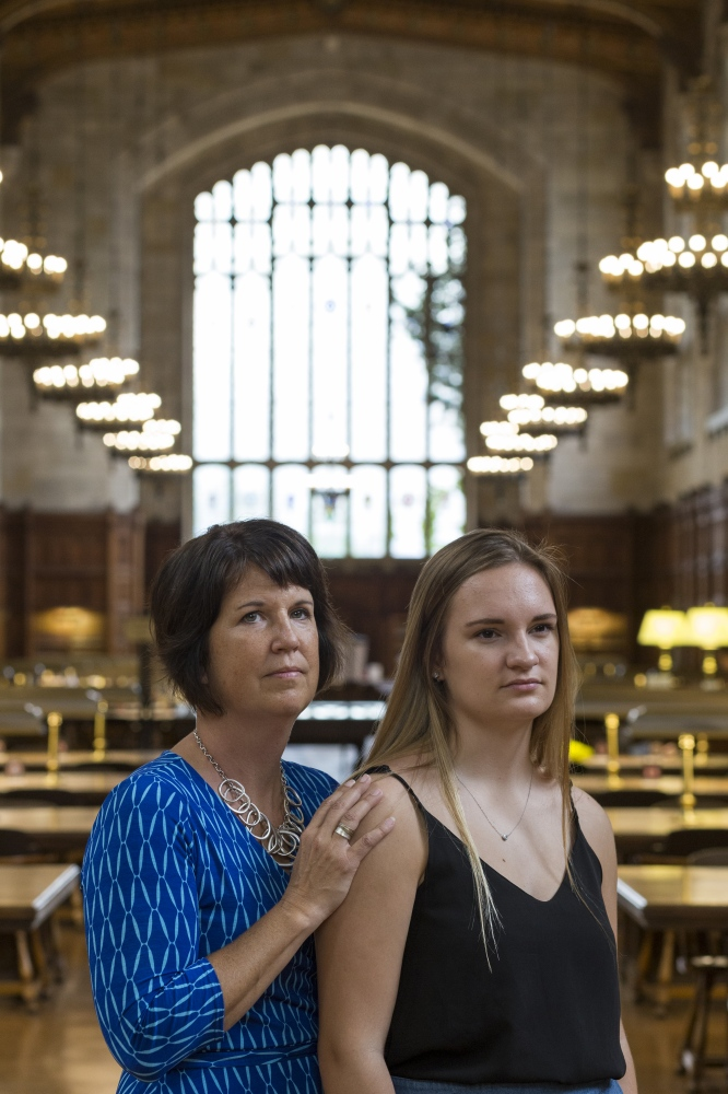 "Heather Jose, left, and her daughter Sydney Jose, 19, and a sophomore at the University of Michigan pose together for a portrait on Tuesday, August 22, 2017 in Ann Arbor, Mich. Heather was diagnosed with stage four breast cancer at the age of 26, and was told to go home and ""get her affairs in order."""
