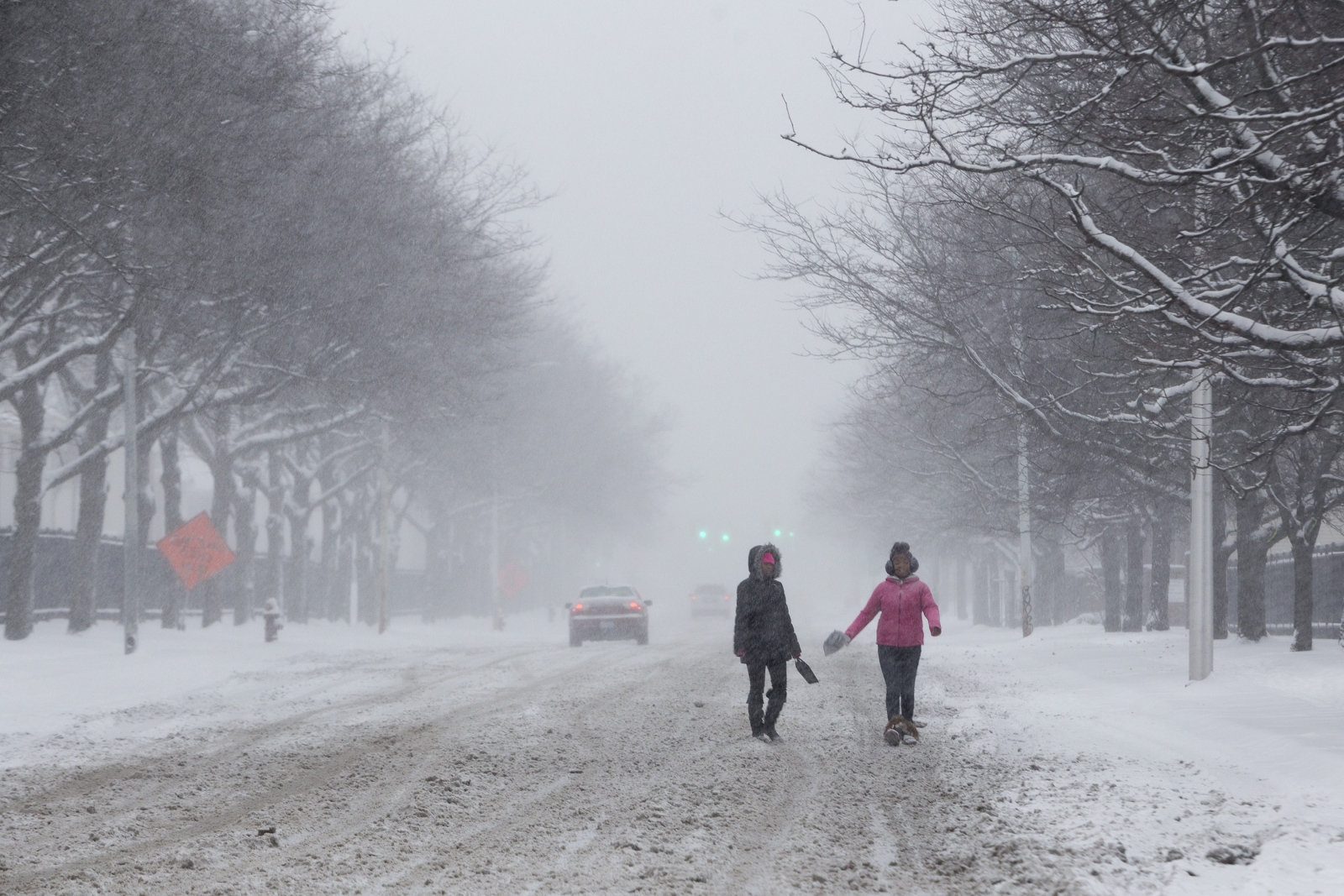 Two young girls walk through a snow storm in the Woodbridge neighborhood of Detroit, Mich. Detroit Metro had the nation's worst airplane delays and cancellations including 269 cancellations and 542 delays.