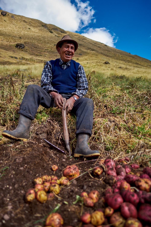 A potato farmer in the remote mountain community of Huamanachoque, Calca, Peru.