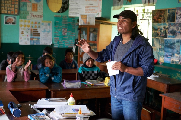 Teacher William Torres leads a class at a school in Chocquecancha. The AASD has assisted with numerous agricultural programs at the school.