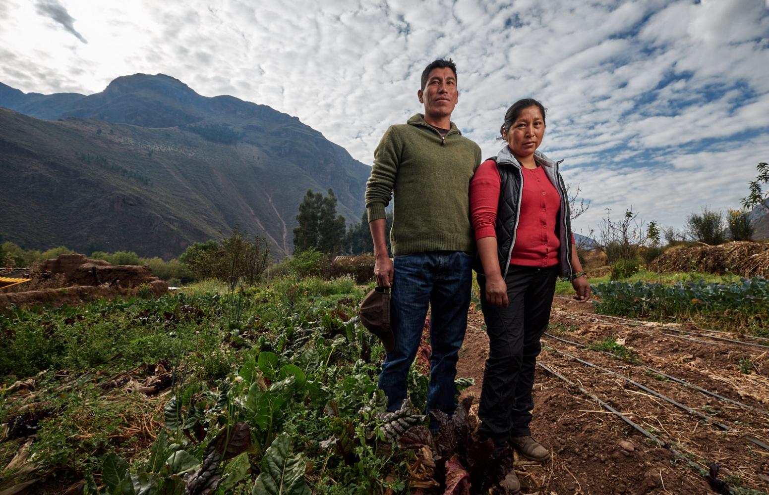 Julio Cesar Nina and Yésica Cusiyupanqu on their farm in Calca, Peru.