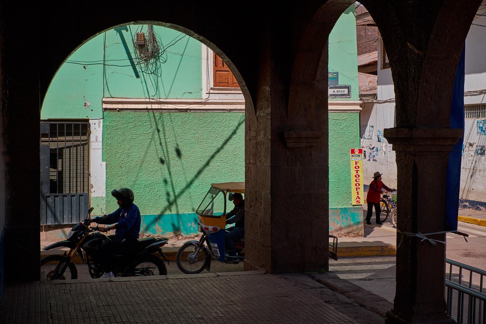View from the collonade on the Plaza de Armas, Calca, Peru.