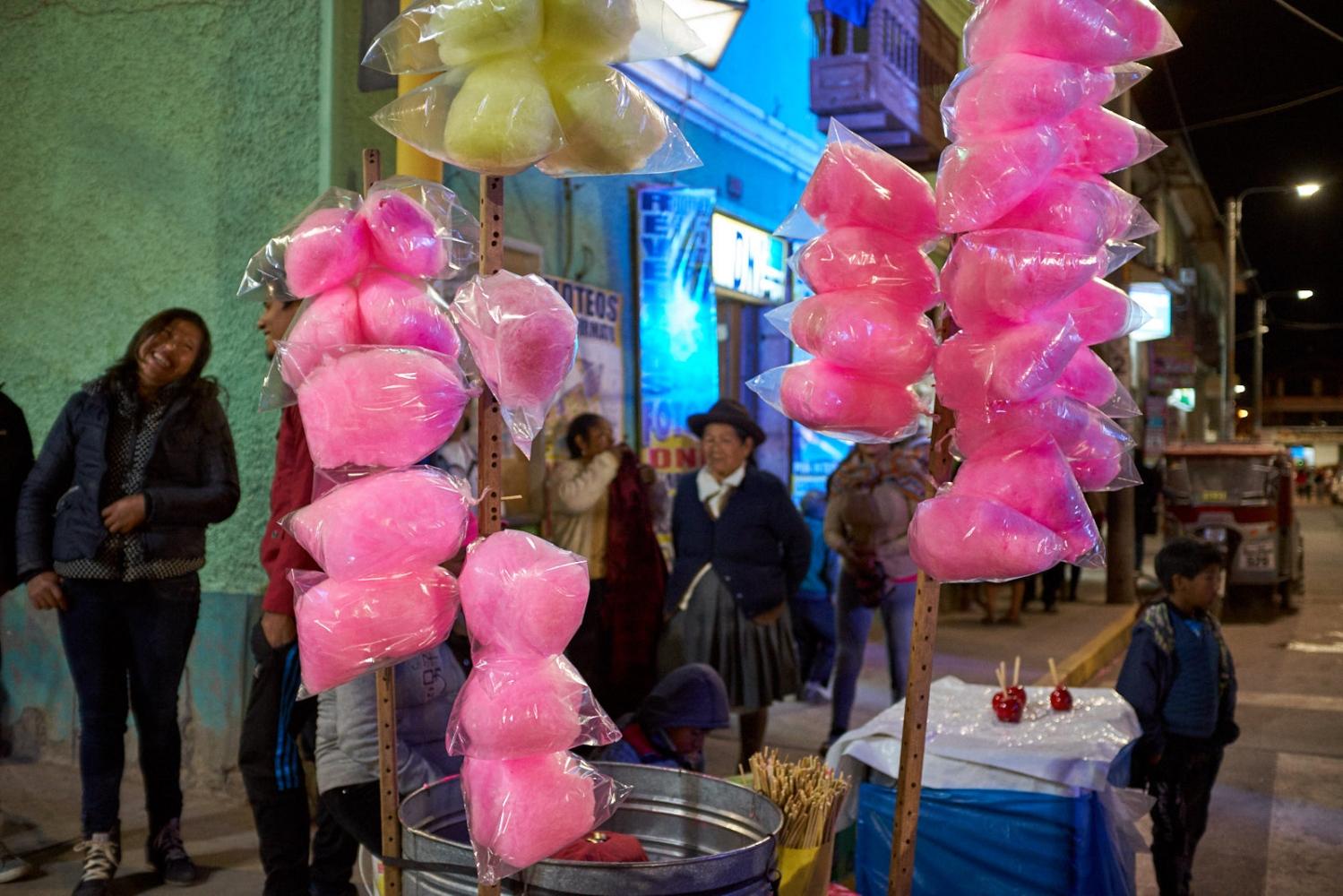 Cotton Candy cart, Plaza de Armas, Calca, Peru.