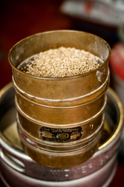 Ingredients for brewing beer are weighed and sifted prior to mixing at the Drop-in Brewing Company, Middlebury, Vermont.