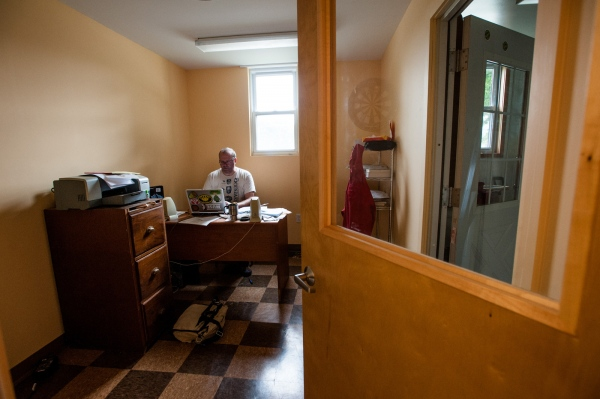 Steve Parkes in his office at the Drop-In Brewing Company, Middlebury, Vermont.