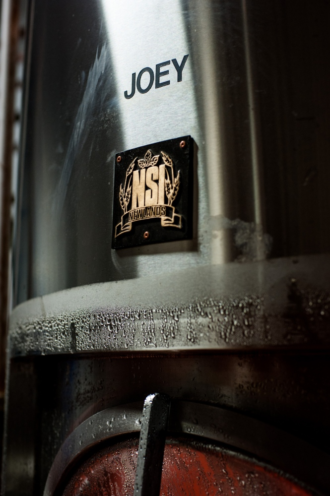 "A beer brewing tank named ""Joey"". Each of the brewing tanks at Steve Parkes' Drop-In Brewing Company is named after a member of the band ""The Ramones""."